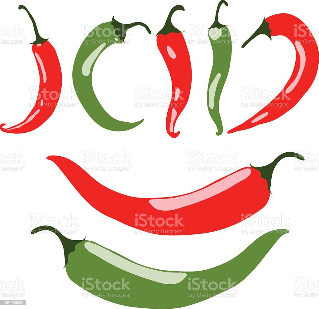 Chili peppers, red and green, vector illustration, isolated, on white vector art illustration
