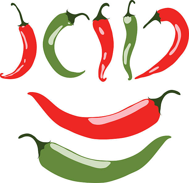 ilustrações de stock, clip art, desenhos animados e ícones de chili peppers, red and green, vector illustration, isolated, on white - red bell pepper isolated
