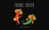 Red and green chili peppers in a sombrero. Vector cartoon. Friends forever. Comic characters.