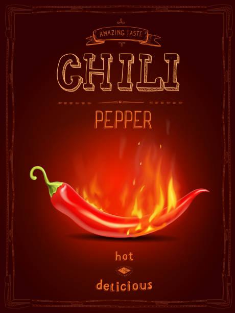 ilustraciones, imágenes clip art, dibujos animados e iconos de stock de fuego de ají rojo en salsa picante cartel o logotipo - guindilla