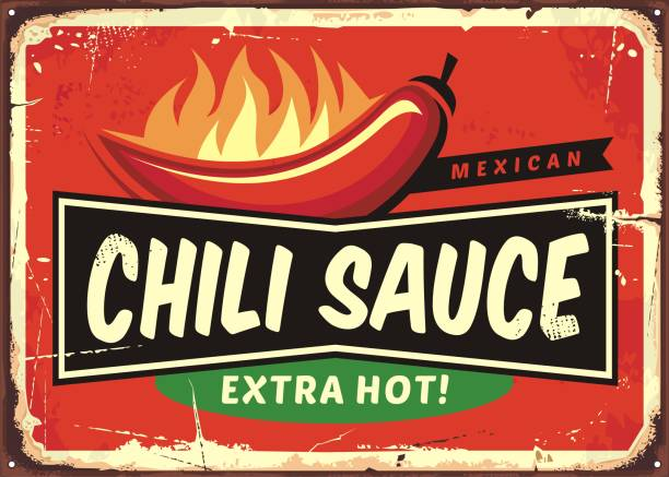 Chili sauce vintage tin sign with chili pepper on fire Chili sauce vintage tin sign with chili pepper and hot flame. Delicious Mexican food advertising on retro metal background. cooking borders stock illustrations