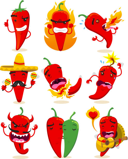 Chili Set Collection Nine different chilis in different situations like making O.K. sign, or mad, spitting fire, with mexican hat, up to explode, devil chili, chilis in love or mariachi chili vector illustrations. mexican restaurant stock illustrations