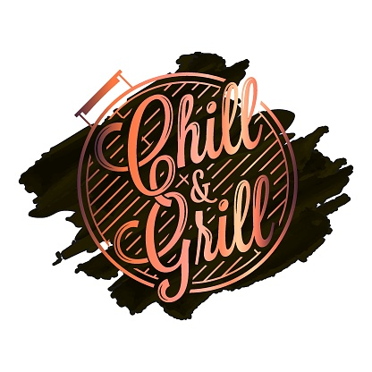 Chill and grill watercolor design. BBQ grill on black background