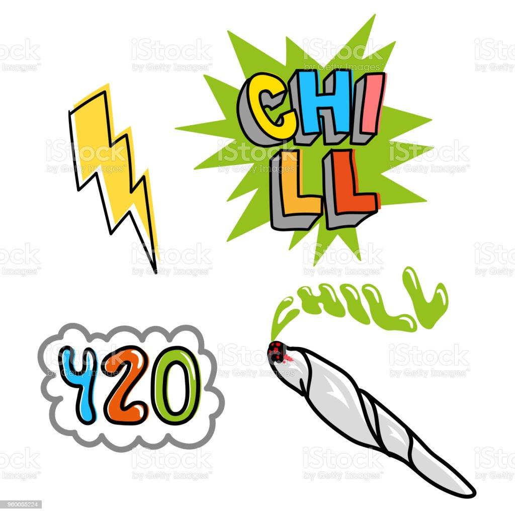 Chill set vector art illustration