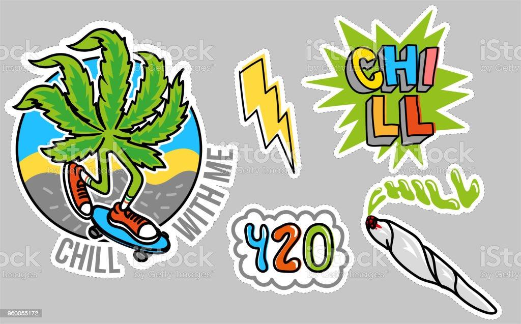 Chill sticker set vector art illustration