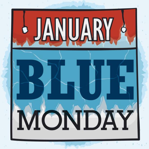 stockillustraties, clipart, cartoons en iconen met gekoeld losbladige kalender voor blauwe maandag - blue monday
