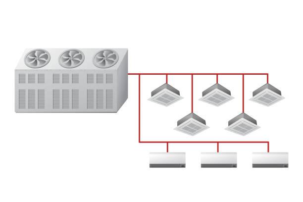 kältemaschine mit kassette von decke und wand innengeräte. - kondensation stock-grafiken, -clipart, -cartoons und -symbole