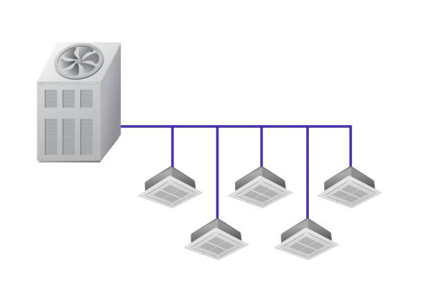 kältemaschine mit decke kassette innengeräte - kondensation stock-grafiken, -clipart, -cartoons und -symbole