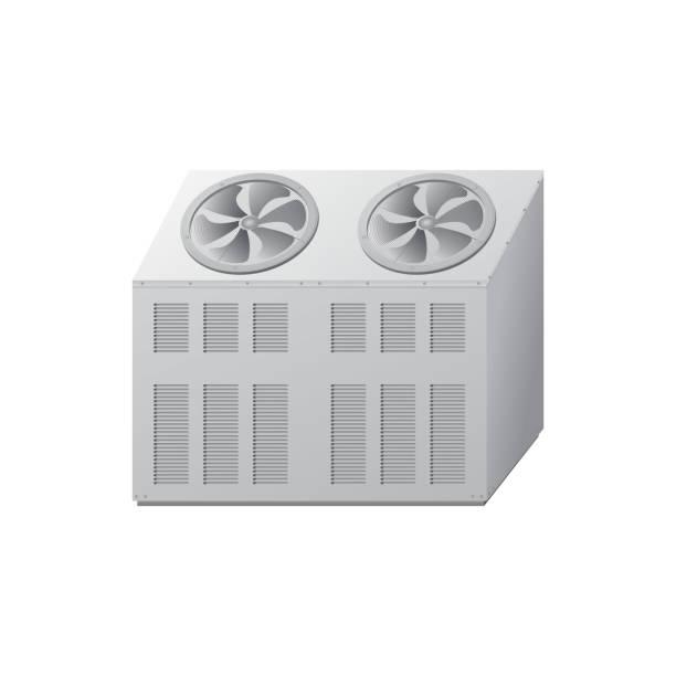 kühler mit lüfter zur kühlung. kühlanlagen. - kondensation stock-grafiken, -clipart, -cartoons und -symbole