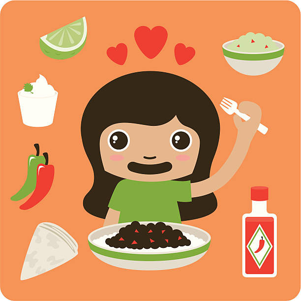 Chilli Girl Vector illustration of a girl who loves Mexican food. Use it as it is, or take apart the different elements to use how you wish. Would look great for branding a Mexican restaurant - put them on the menus, the place-mats, or even on the walls! Global colours for easy editing. Download includes bonus hi-res layered PSD file. mexican restaurant stock illustrations