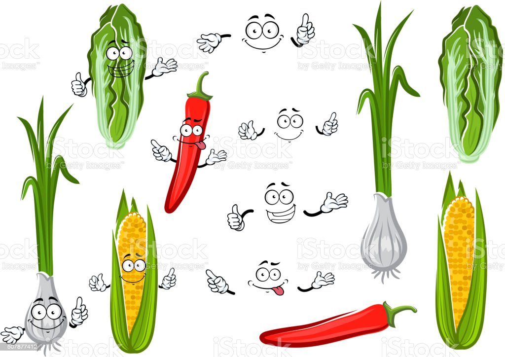 Chilli pepper, corn, onion and cabbage vector art illustration