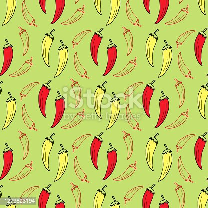 istock Chilli pepper on green background seamless pattern. Vector kitchen textile design. 1279823194