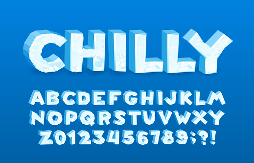 Chilly alphabet font. 3D cartoon ice letters and numbers. Stock vector typescript for your typography design.