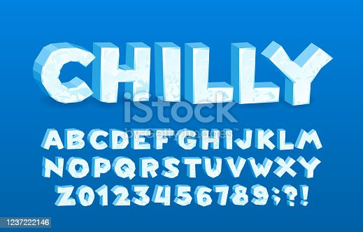 Chilly alphabet font. 3D cartoon ice letters and numbers.