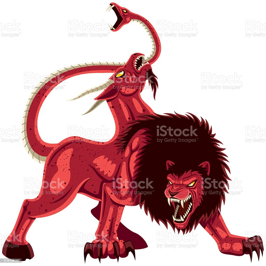 Chimera on White vector art illustration