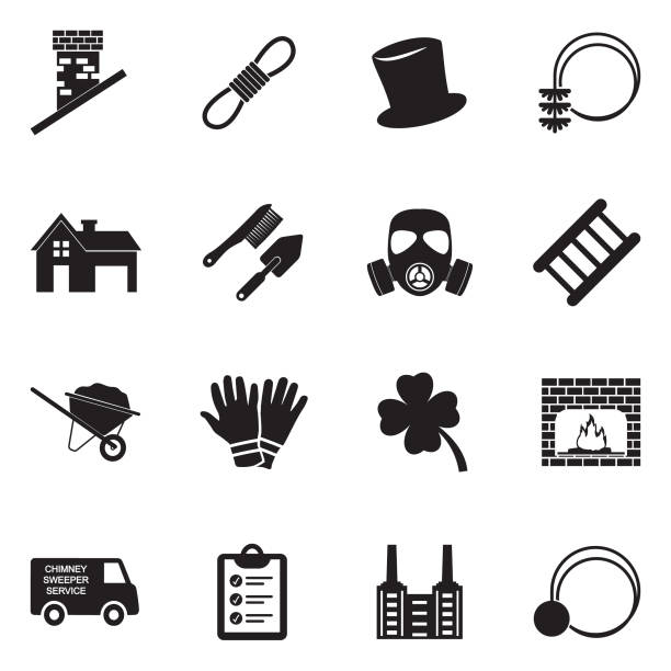 chimney sweeper icons. schwarze flache bauweise. vektor-illustration. - kamin stock-grafiken, -clipart, -cartoons und -symbole