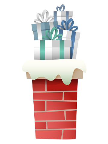 Chimney with gifts - isolated