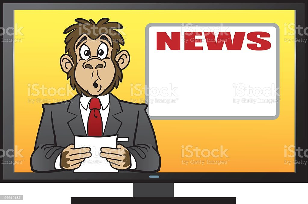 Chimp Reading The News - Royalty-free Animal stock vector