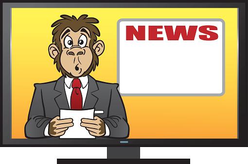 Chimp Reading The News-vektorgrafik och fler bilder på Apa