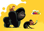 chimpanzee and friends finding fruits via smartphone