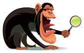 vector illustration of chimpanzee holding magnifying glass