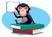 istock chimpanzee holding pencil and book 1281394348