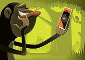 vector illustration of chimpanzee video chatting with gorilla via smartphone