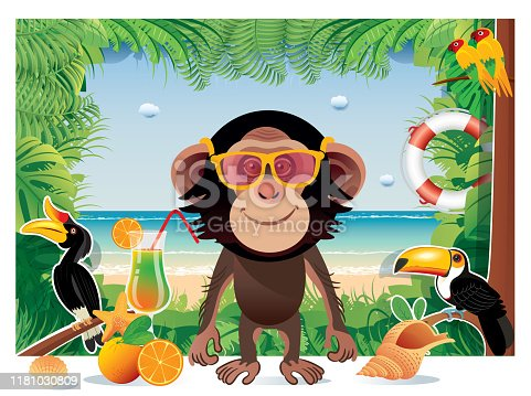Chimpanzee with glasses and Beach