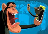 vector illustration of chimpanzees video chatting via smartphone