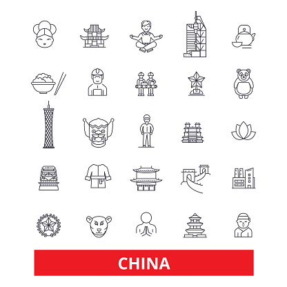China and chinese, oriental, east, nation, culture, Beijing, Great Wall line icons. Editable strokes. Flat design vector illustration symbol concept. Linear signs isolated on white background