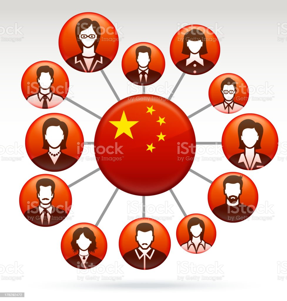China and Chinese Public Network Business Concept royalty-free stock vector art