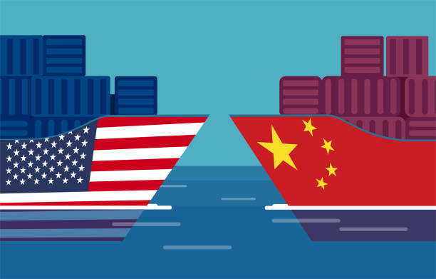 China and United States trade war concept. Vector of two cargo ships. China and United States trade war concept. Vector of two cargo ships. Taxation of import and exports trade war stock illustrations
