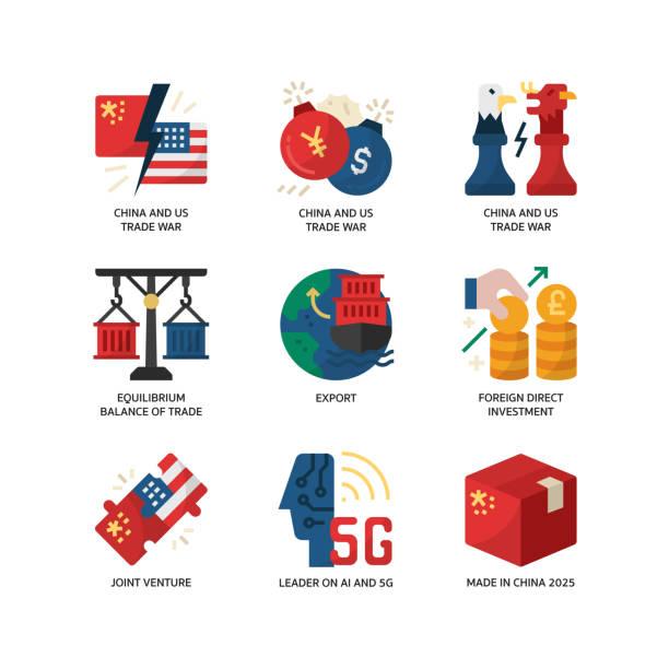 China and US trade war icon set China and US trade war icon set trade war stock illustrations