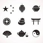 China, Asia icon set.