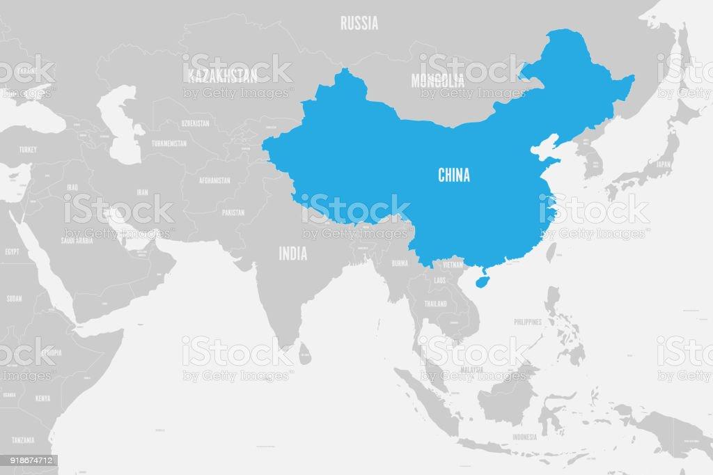 Südasien Karte.China Blau Markierten Politische Karte Von Südasien