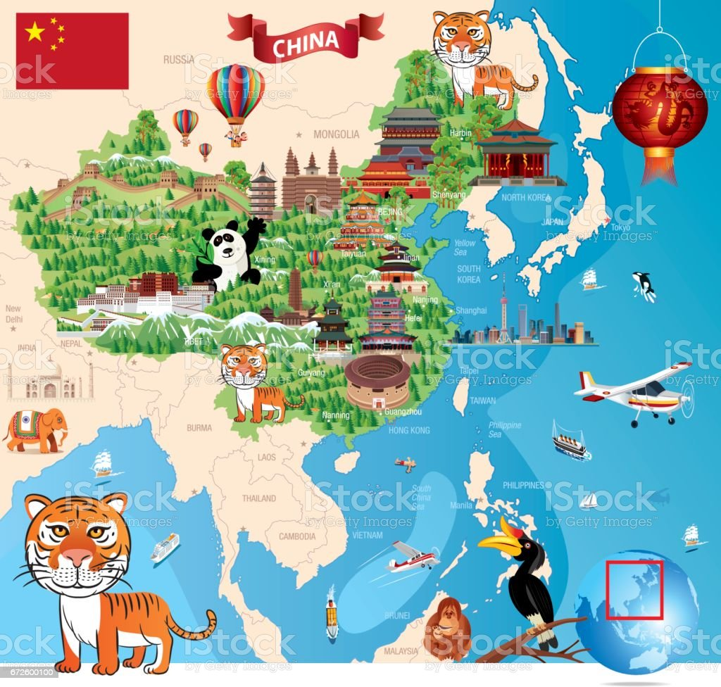 China Cartoon Map vector art illustration