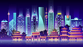 Stock vector illustration background city night in neon style architecture buildings and monuments town country travel flyer, printed Chinese Bungalows, China, Beijing, Shanghai, Chinese culture