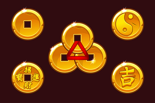 China coins set. Vector Golden coin In-yan.