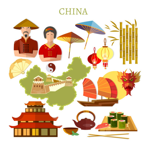 China collection. Chinese traditions and culture, map, people. Travel to China template elements vector art illustration