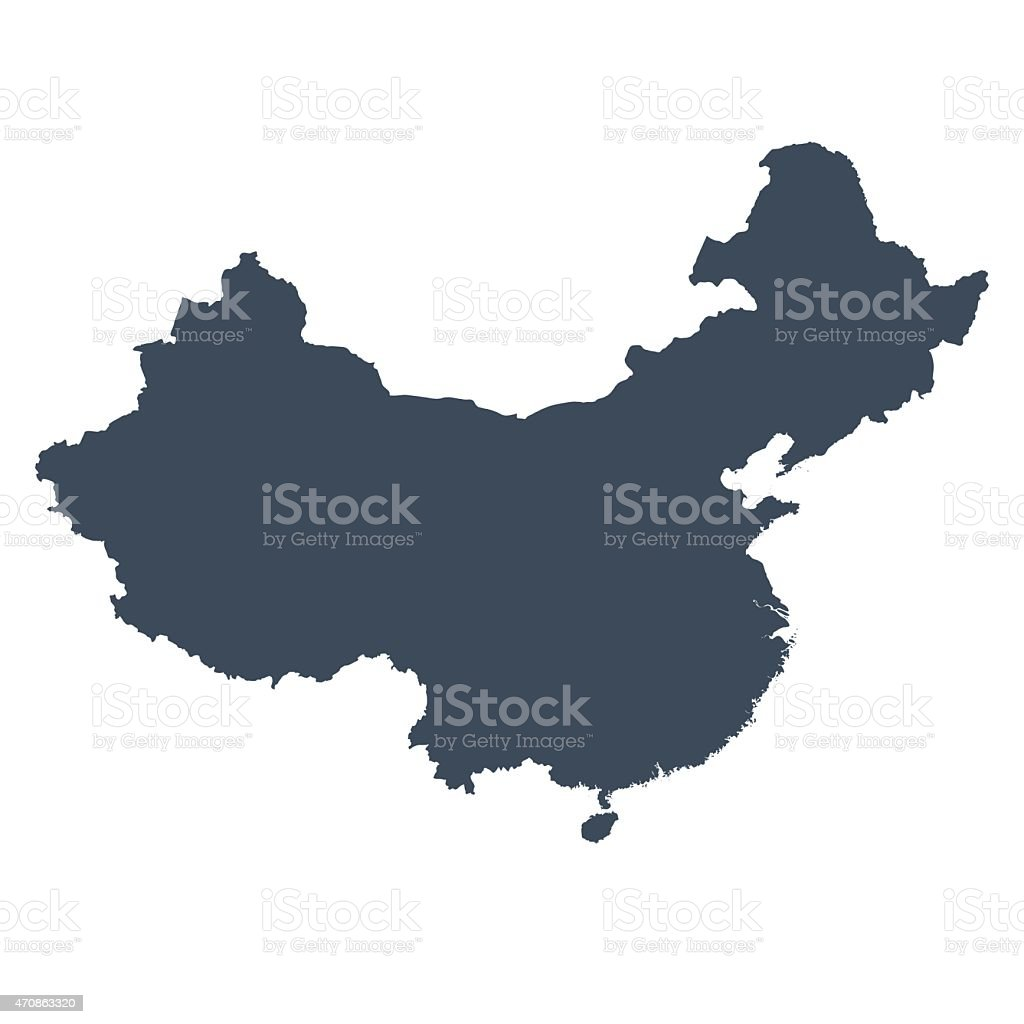 China country map vector art illustration