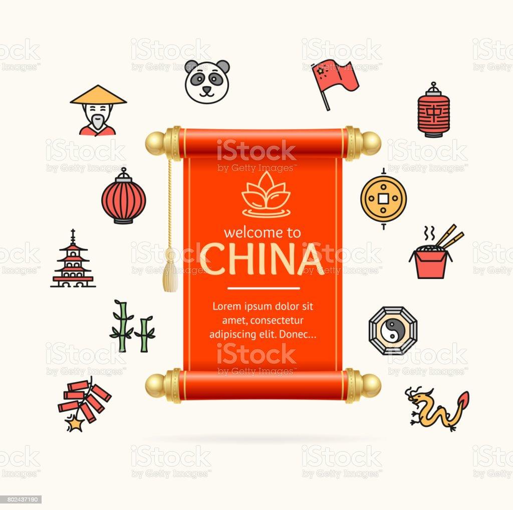 Papel Y China Diseño Plantilla Línea Icono Concepto Desplazarse ...