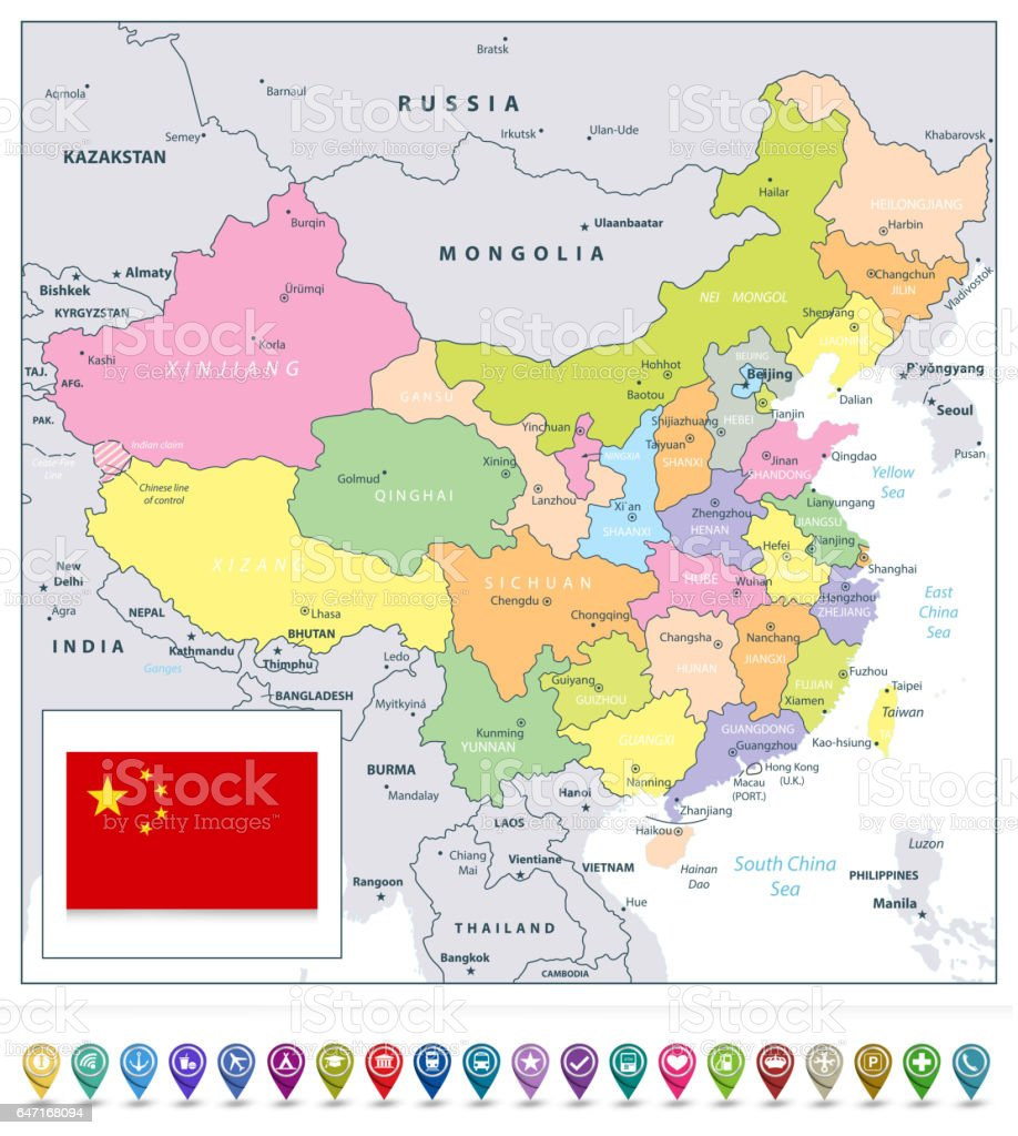 China Detailed Political Map And Map Pointers Stock Vector Art