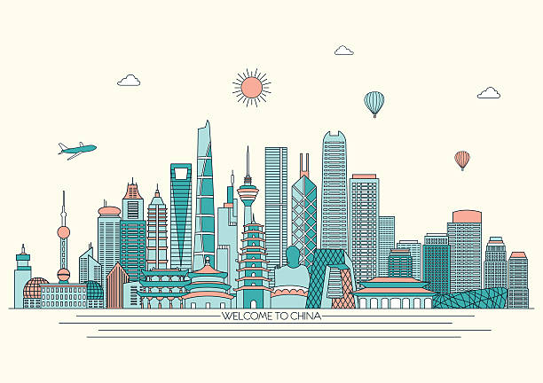China detailed skyline. Vector background. line illustration. Line art style China detailed skyline. Vector background. line illustration. Line art style loon bird stock illustrations