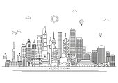 China detailed skyline. Vector background. line illustration. Line art style