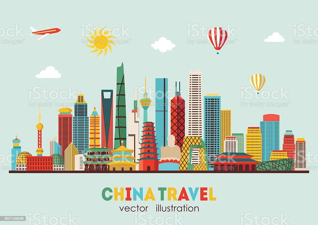 China Detailed Skyline Vector Illustration Stock