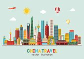 China detailed skyline. Vector illustration