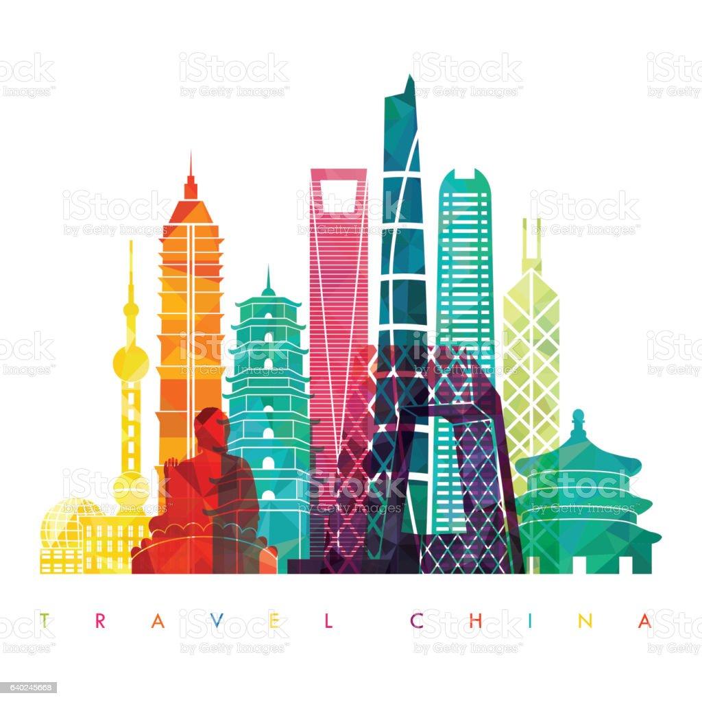 China detailed skyline. Vector illustration - ilustración de arte vectorial