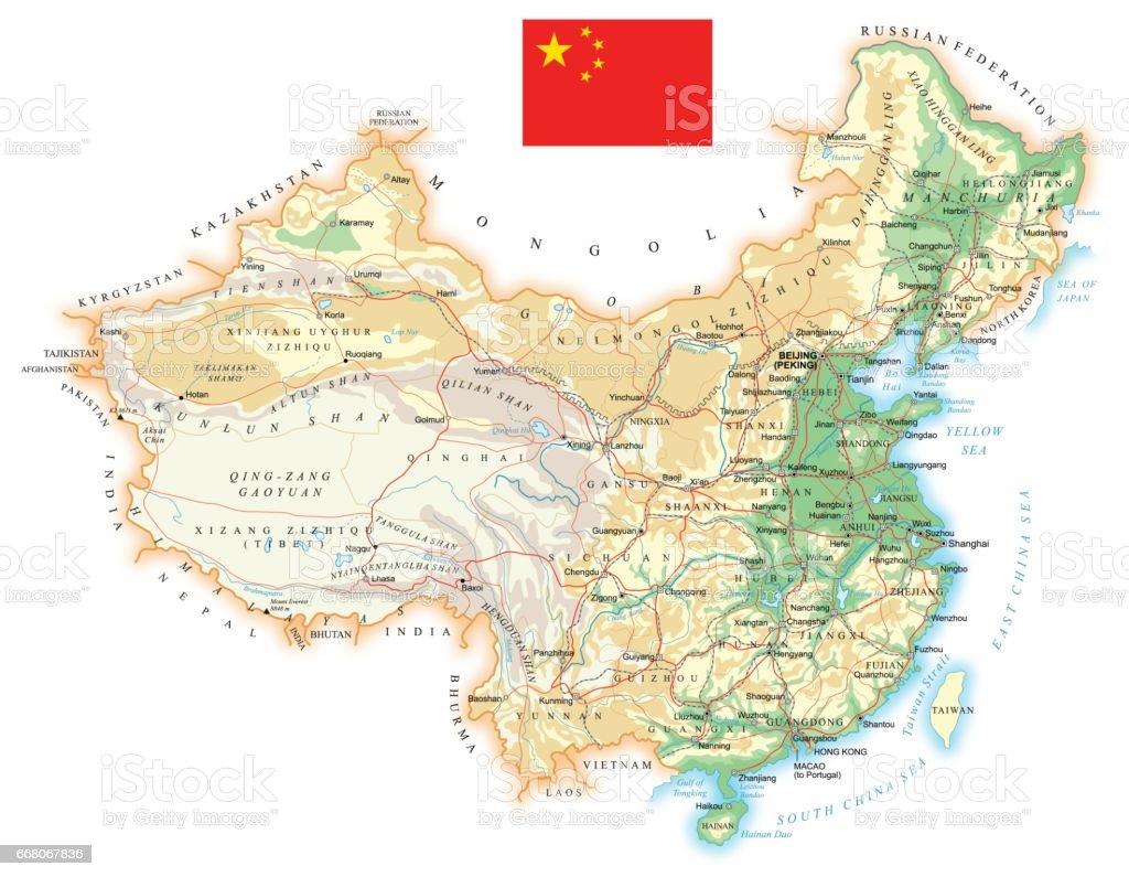 China - detailed topographic map - illustration vector art illustration