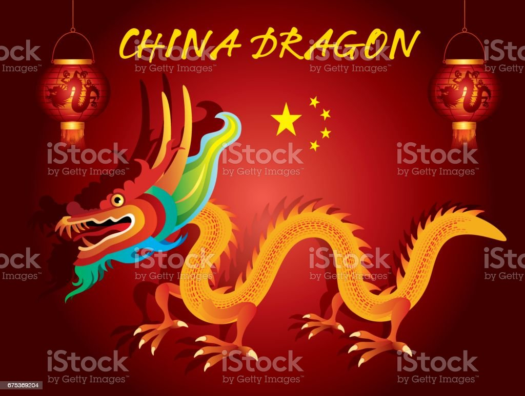 China Dragon vector art illustration