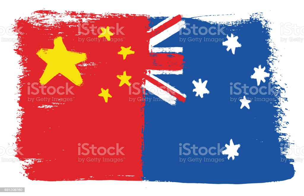 çin Bayrak Ve Avustralya Bayrağı Vektör El Yuvarlak Fırça Ile Boyalı
